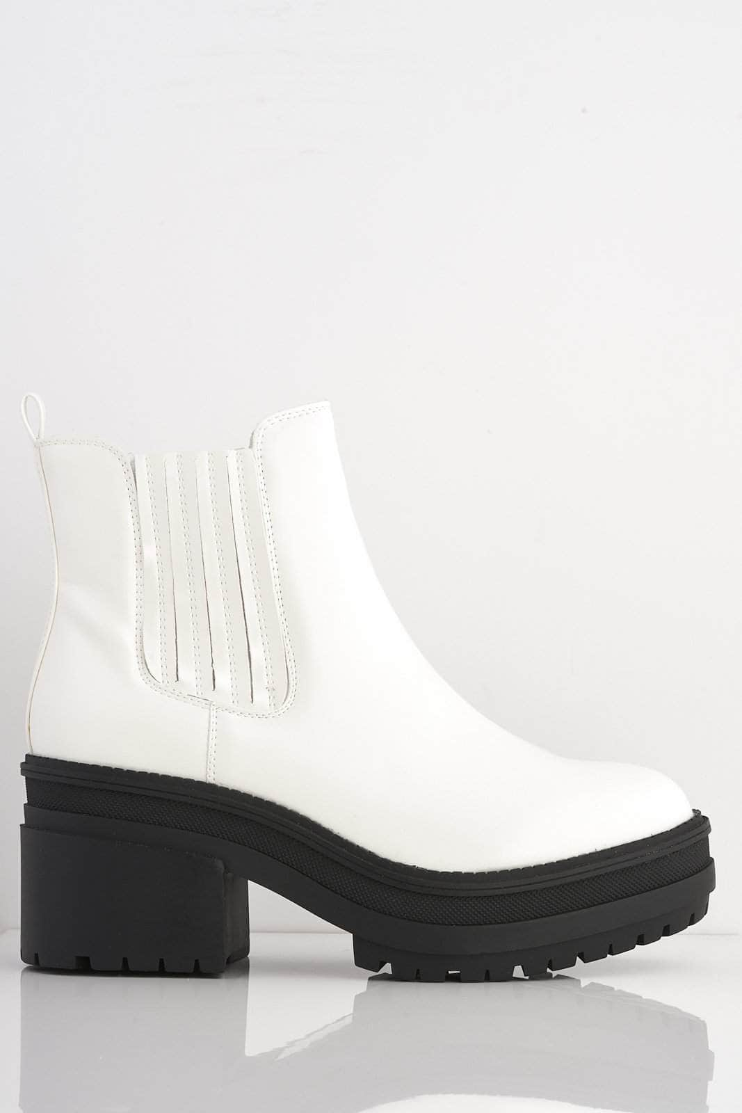 White Patent Chunky Ankle Boots