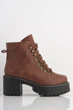 Tan Pu Lace Up Chunky Ankle Boots
