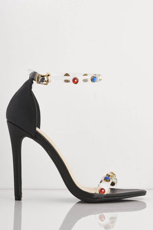 Multicoloured Gem Embellished Perspex Black Pu Heels