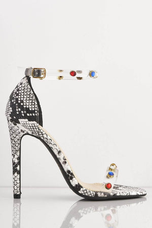 Multicoloured Gem Embellished Perspex Snake Heels