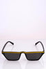 Black Angled Sunglasses with Gold Trim