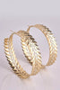 Gold Textured Leaf Hoop Earrings