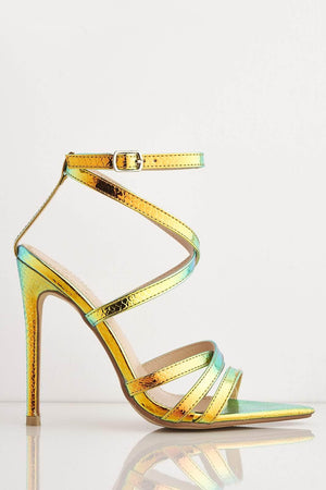 Orange & Green Holographic Snake Dagger Heels