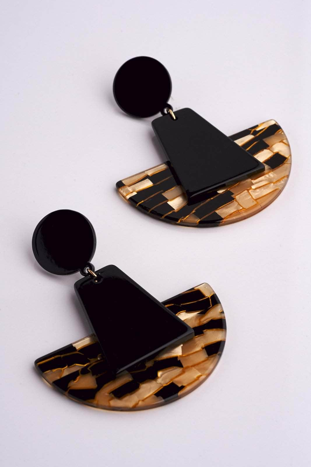 Black Patterned Earrings
