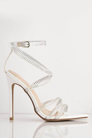 White Patent Diamante Gel Strappy Dagger Heels