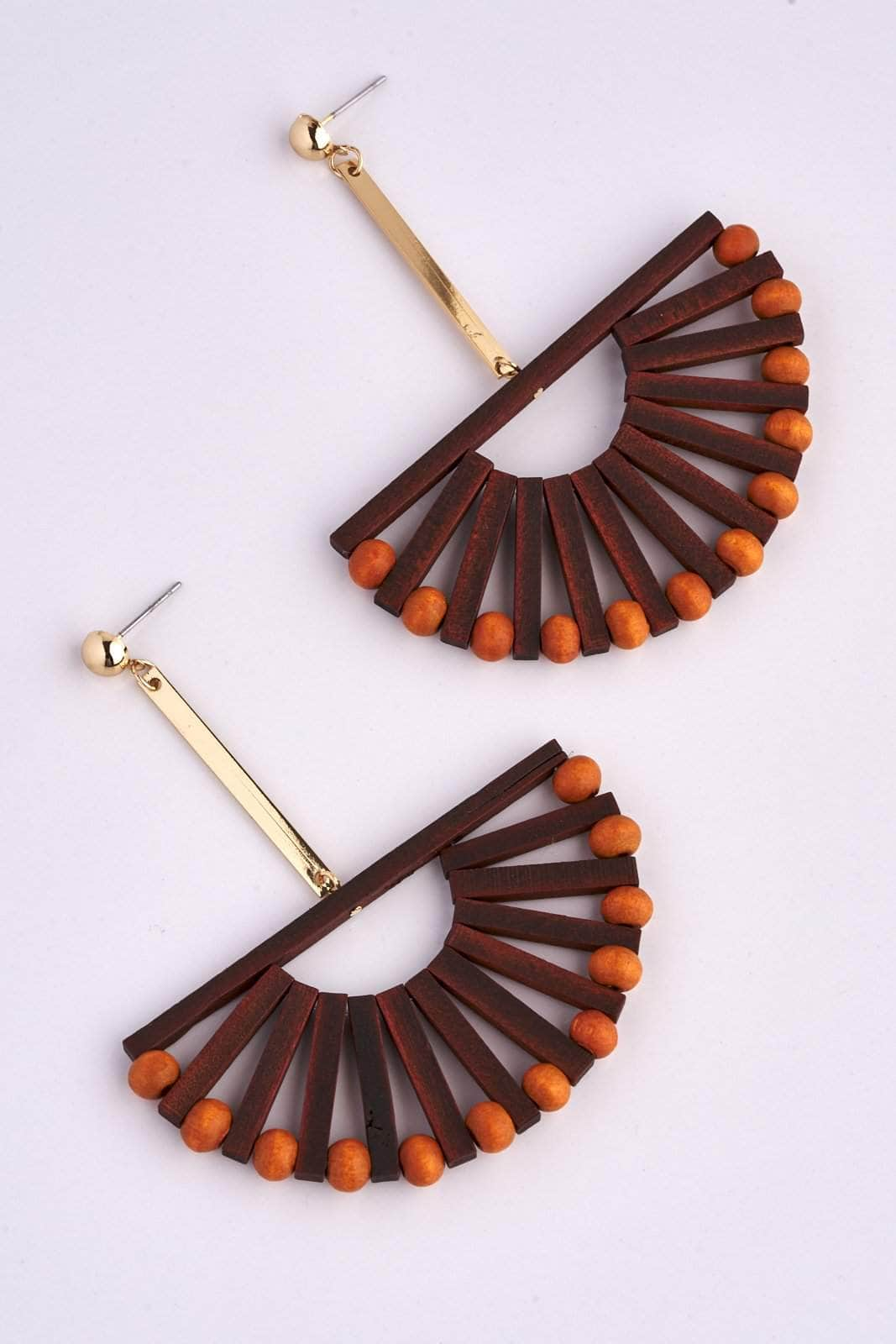 Brown Wooden Beaded Semi Circle Earrings