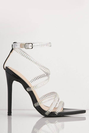 Black Patent Diamante Gel Strappy Dagger Heels