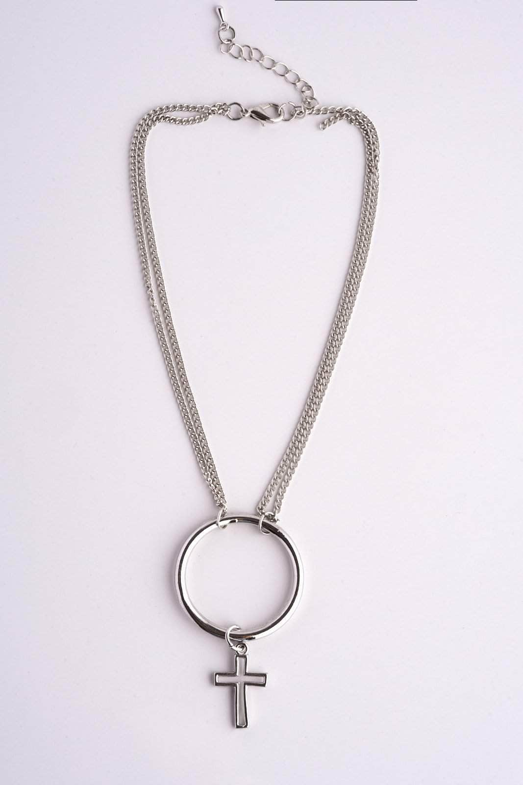 Silver Circle Choker with Cross