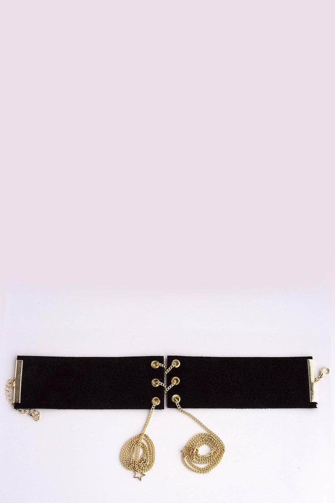 Thick Black Velvet Eyelet Choker Necklace
