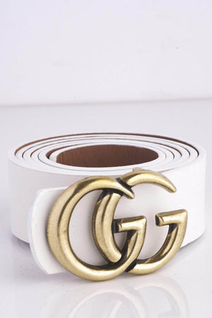 White Double G Buckle Belt