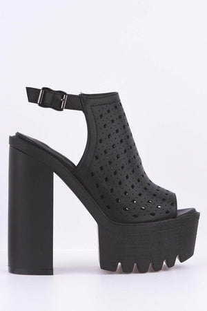 Black Lazer Cut Cleated Platform Chunky Heels
