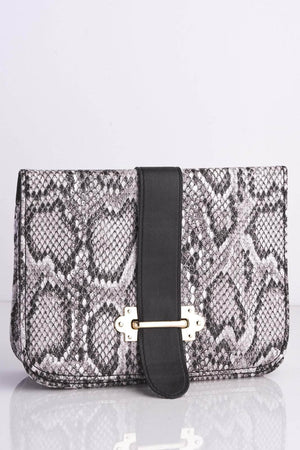 Grey Snake Rectangle Cross Body Bag