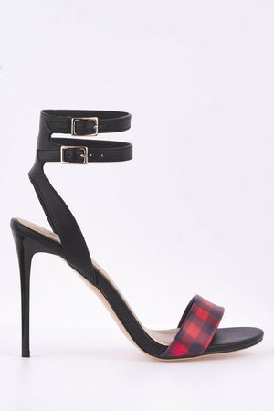 Red Checked Pu Strap Black Heels