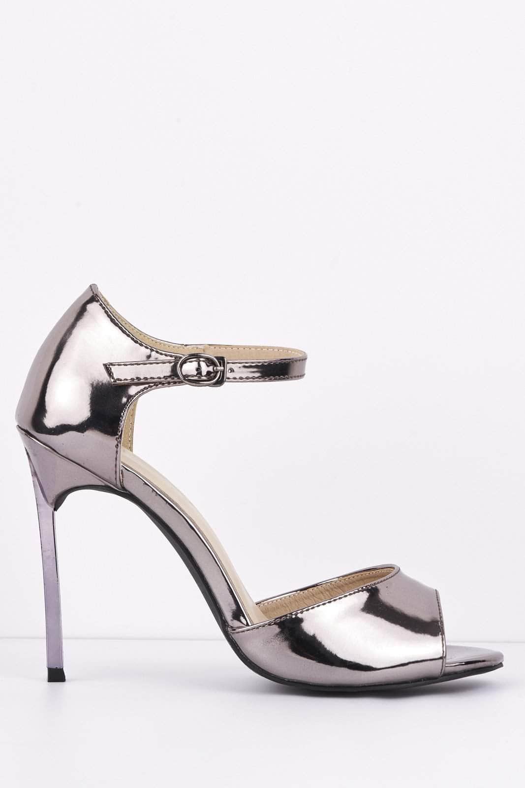 Metallic Gun Metal Peep Toe Heels