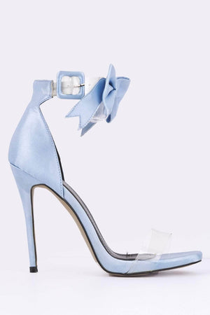 Blue Satin & Perspex Bow Detail Heels