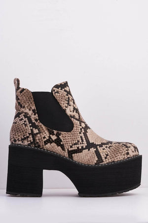 Brown Snake Chunky Platform Ankle Boots