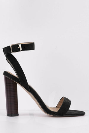 Black Barely-There Wood Effect Block Heels