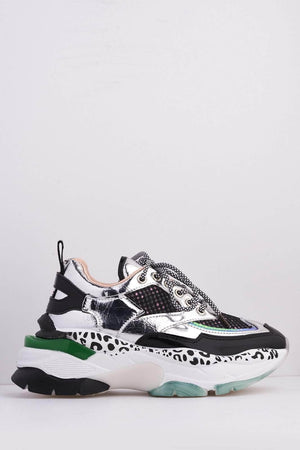 Silver Metallic & Black Patent Chunky Printed Trainers