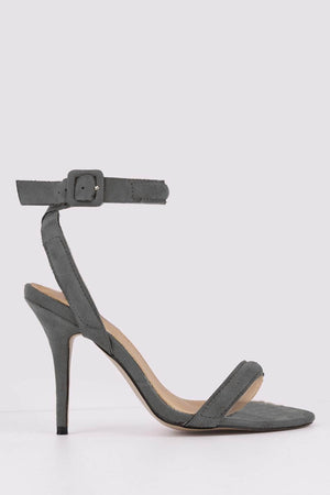 Grey Suede Strappy Cross Over Heels