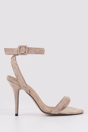 Beige Suede Strappy Cross Over Heels