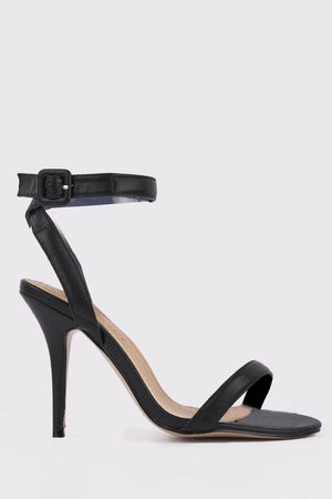 Black PU Strappy Cross Over Heels