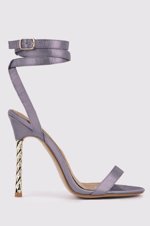 Grey Strappy Stilettos with Silver Twist Heel