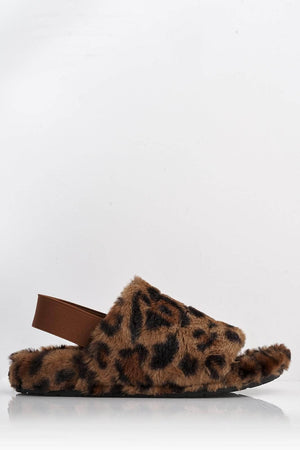 Brown Leopard Fluffy Sling Back Slippers
