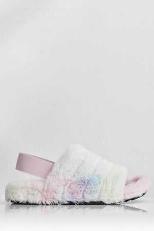 Multi Pastel Faux Fur Fluffy Strap Back Slippers