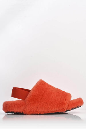 Red Faux Fur Fluffy Strap Back Slippers
