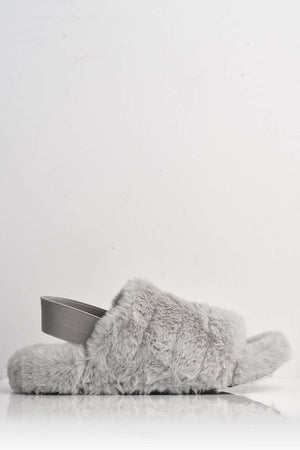 Grey Faux Fur Fluffy Strap Back Slippers