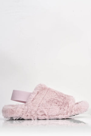 Pink Faux Fur Fluffy Strap Back Slippers
