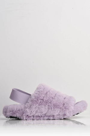 Lilac Faux Fur Fluffy Strap Back Slippers
