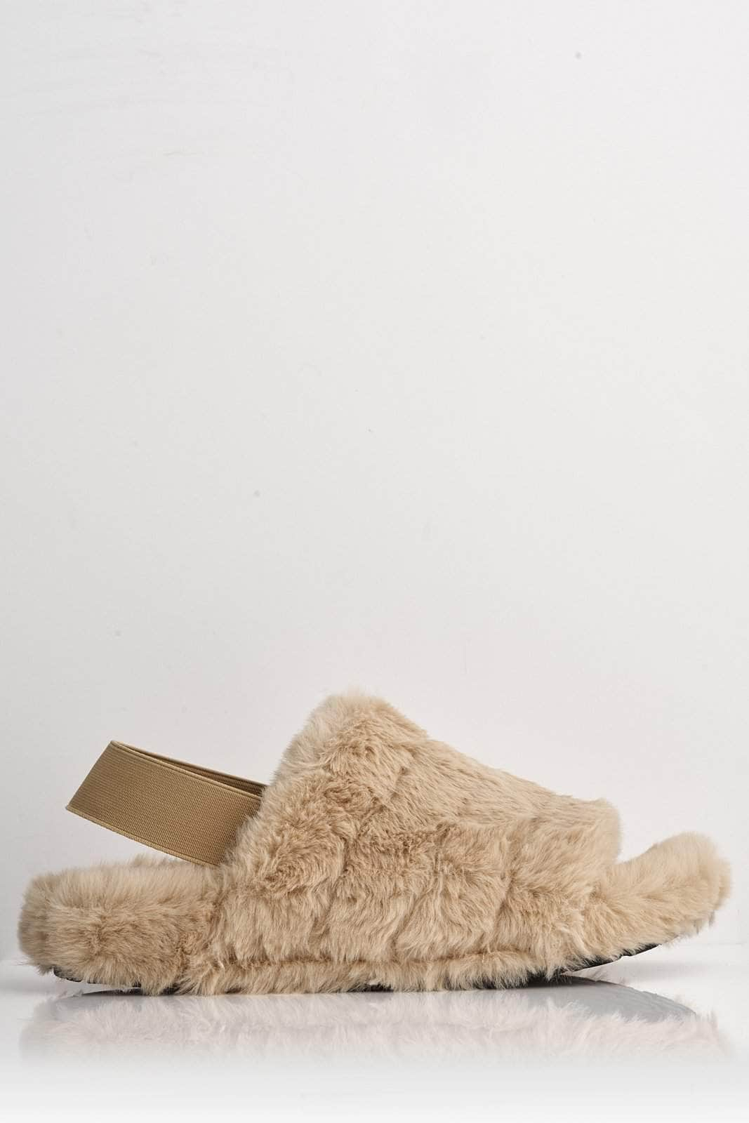 Nude Faux Fur Fluffy Strap Back Slippers