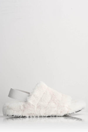 Cream Faux Fur Fluffy Strap Back Slippers