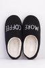 Black 'More Coffee' Slippers