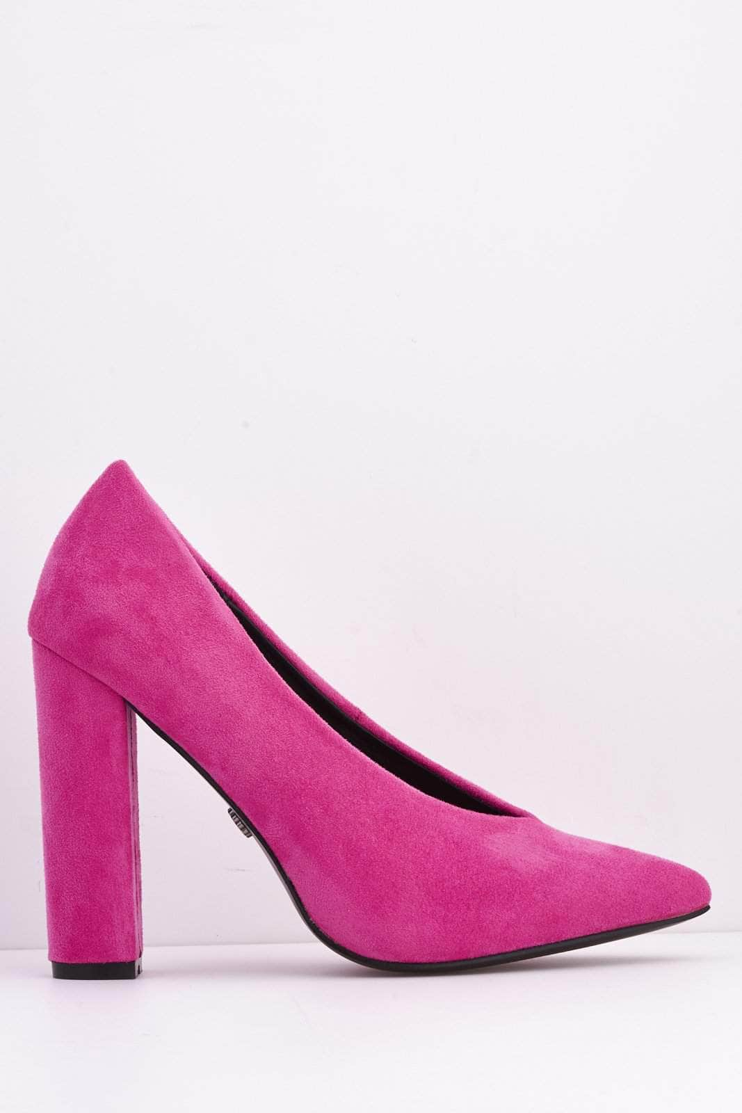 Hot Pink Faux Suede Pointed Block Heels