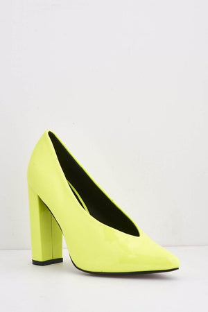 Neon Yellow Patent Pointed Block Heels