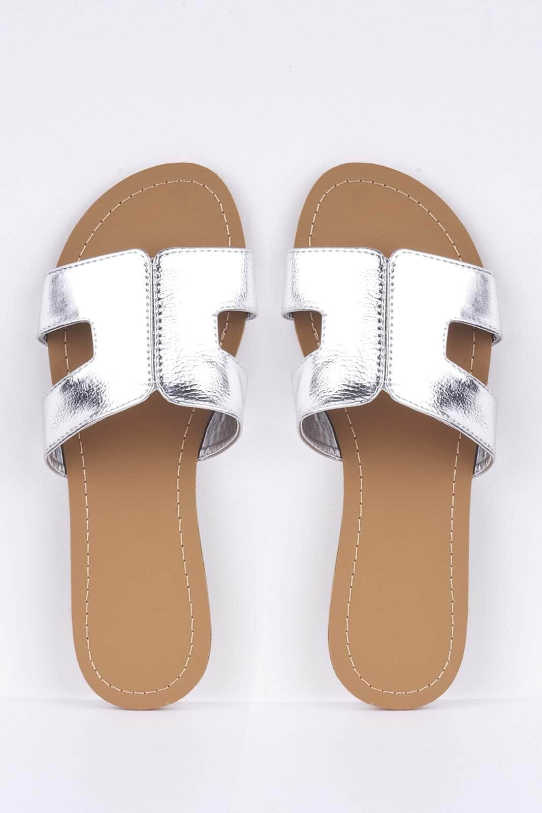 Silver Metallic Cut Out Sliders