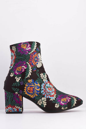 Black Satin Oriental Floral Ankle Boots