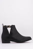 Black Pu Cross Over Buckle Ankle Boots
