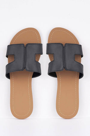 Black Pu Cut Out Sliders