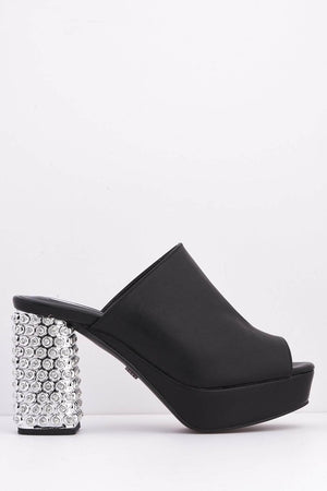 Black Pu Mules with Diamante Embellished Block Heel