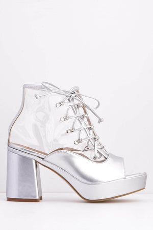Silver Pu & Perspex Cage Lace Up Boots