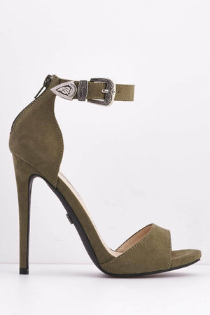Green Faux Suede Western Buckle Stilttos