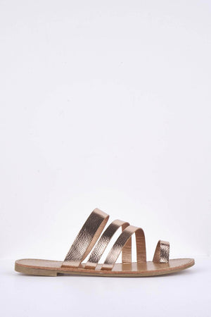 Rose Gold Pu Triple Strap Flat Sandals