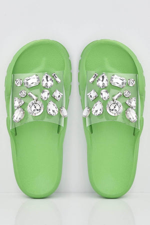 Gem Embellished Perspex Rubber Sliders in Green