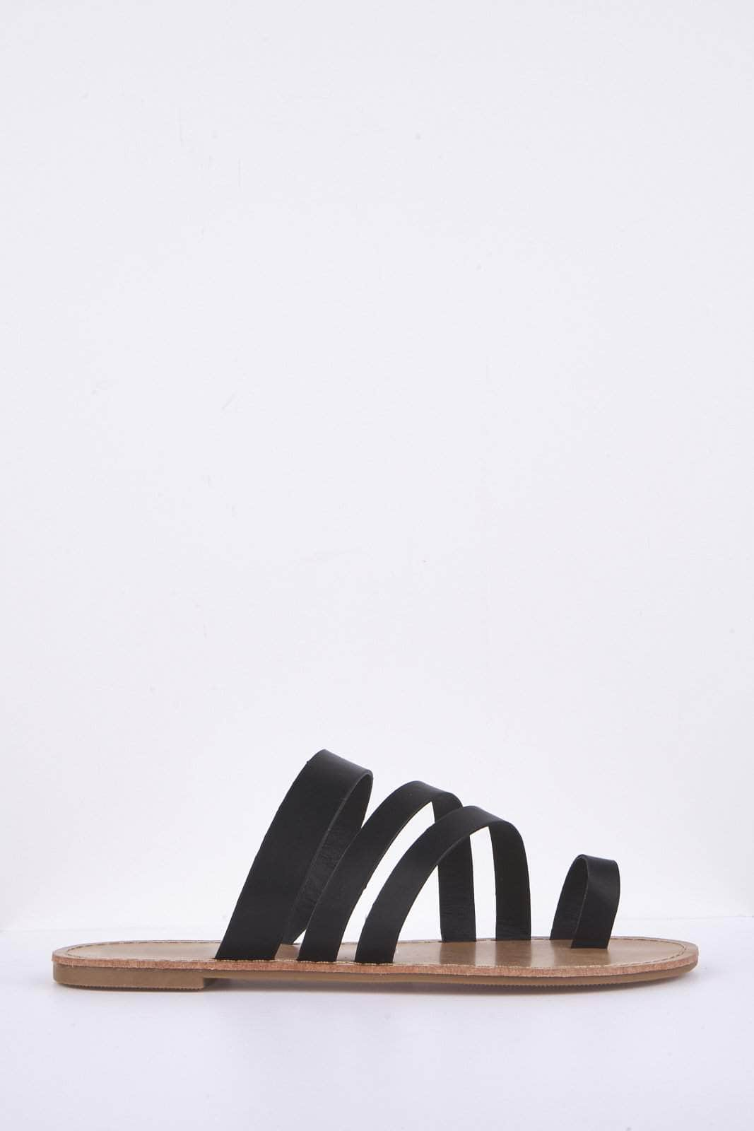 Black Pu Triple Strap Flat Sandals