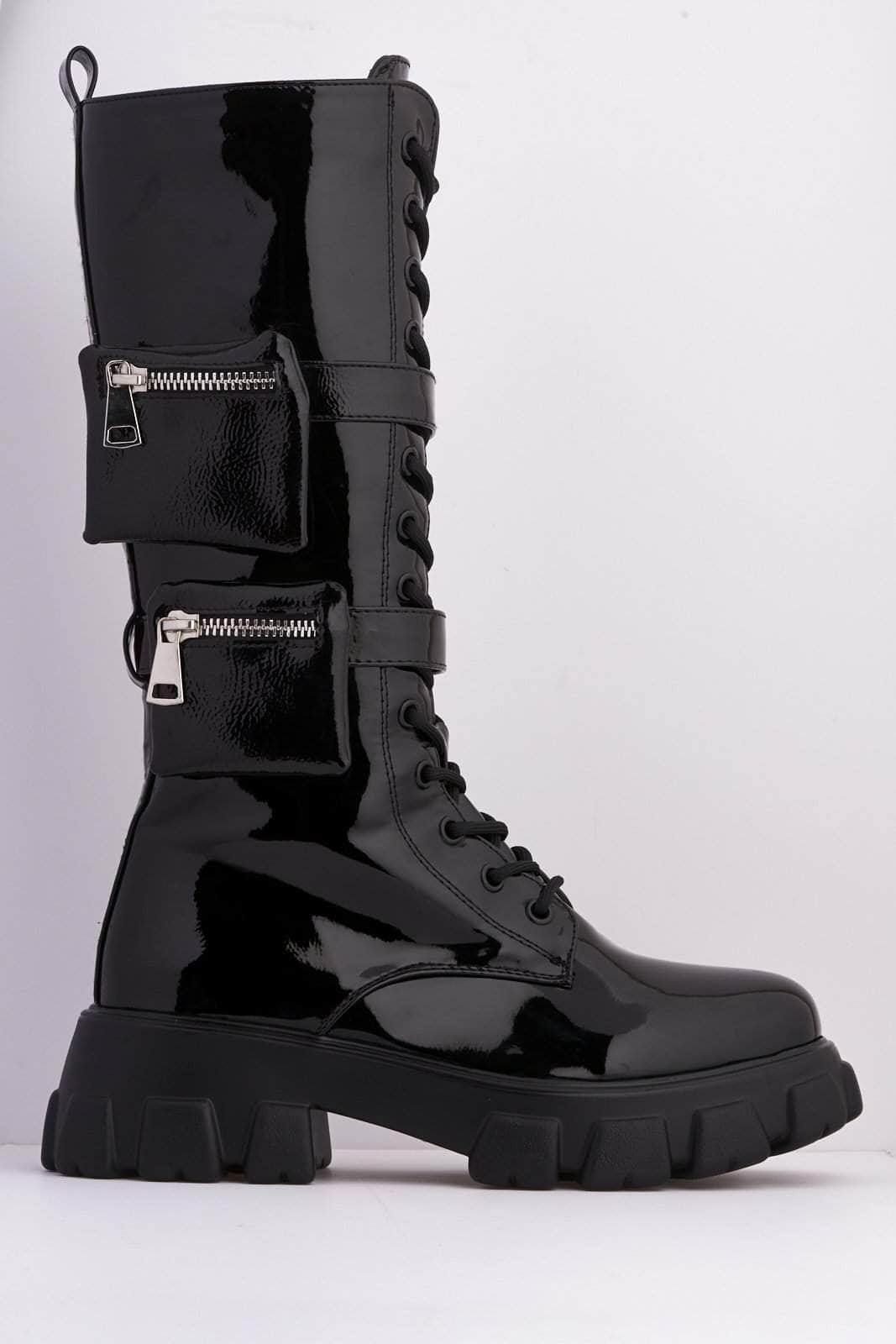 Black Patent Pocket Detail Chunky Lace Up Biker Boots