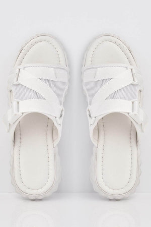 White Buckle Detail Sports Sliders