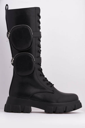 Black Pu Pocket Detail Chunky Lace Up Biker Boots